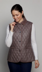 Womens Taupe Diamond Quilt Waxed Gilet db309
